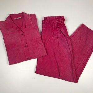Vintage 80s Shirt and Pants Set